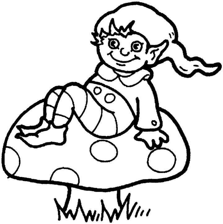 this coloring page features a cute looking elf sitting on a mushroom the elf is
