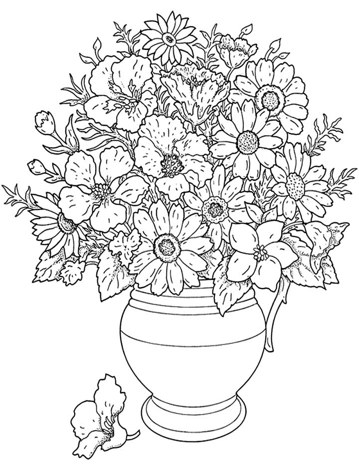 This coloring page features a large pot of flowers. Add some color to make them look bright and beautiful.