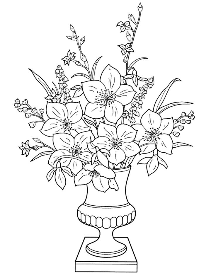 flower vase coloring page. This coloring page features a well presented vase of flowers  color them in and make Flowers Vase Coloring Page for Kids Free Printable Picture