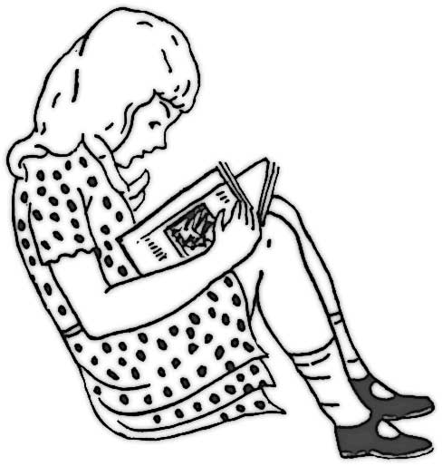 This coloring page features a girl wearing a polka dot dress reading a book.