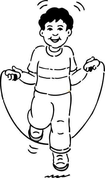 This coloring page for kids features an excited looking boy enjoying some jump rope fun.