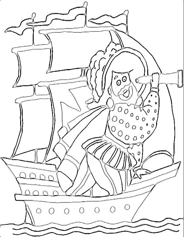 This coloring page for kids features a pirate looking through a telescope while sailing the high seas on his pirate ship.