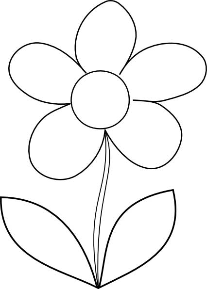 Flowers coloring pages free printable download nanopics for Easy flower coloring pages
