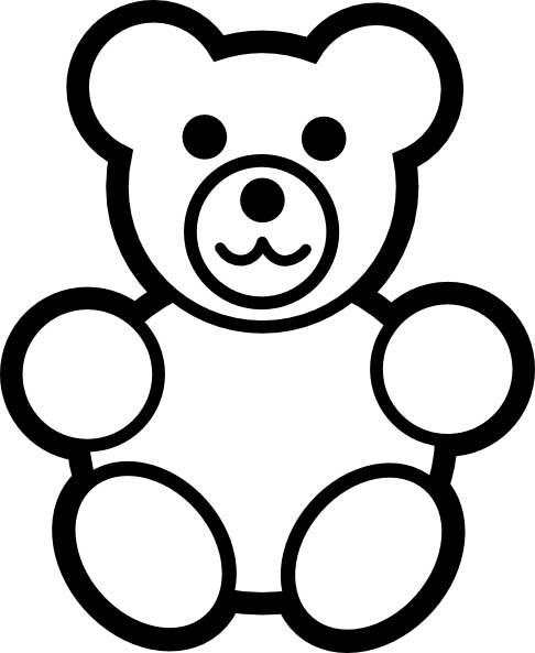 This Coloring Page For Kids Features A Cute Teddy Bear.
