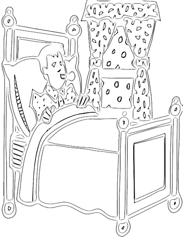 This coloring page features an unwell boy recovering in his bed.