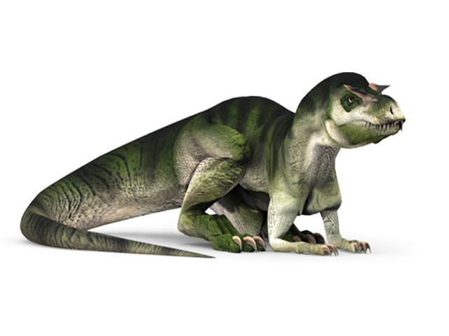 This CGI drawing shows the possible appearance of Albertosaurus, a dinosaur from the late Cretaceous Period. Albertosaurus was a predator that moved on two legs, living in an area that now makes up western North America. While smaller than other Tyrannosaurids such as the well known Tyrannosaurus rex, Albertosaurus still grew to a length of up to 9 metres (30 feet) and a weight of around 1.4 tons.