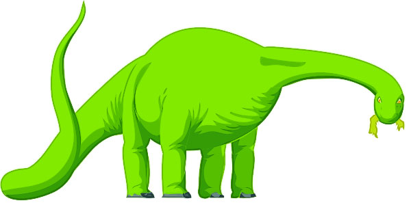 This clip art picture shows an Apatosaurus (also known as Brontosaurus) eating. The Apatoaurus was a herbivore (plant eater) that lived in the Jurassic Period, around 150 million years ago.