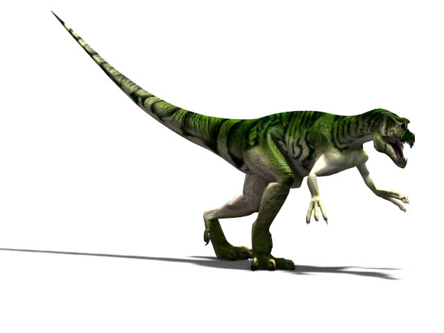 This CGI drawing shows the possible appearance of Baryonyx, a dinosaur from the early Cretaceous Period (around 130 million years ago). Baryonyx featured a number of adaptations which helped it hunt and eat fish, it is one of the few known fish eating dinosaurs. Baryonyx was around 8.5 metres (28 feet) in length and could weigh over 1700 kg (3700 lb).
