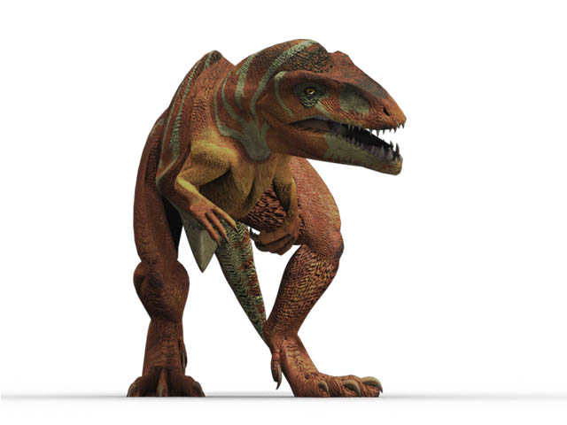 This CGI drawing shows the possible appearance of Giganotosaurus, a dinosaur from the late Cretaceous Period (around 100 million years ago). Giganotosaurus was a carnivore (meat eater) that was even bigger than the more well known Tyrannosaurus rex. Its name means 'giant southern lizard'.