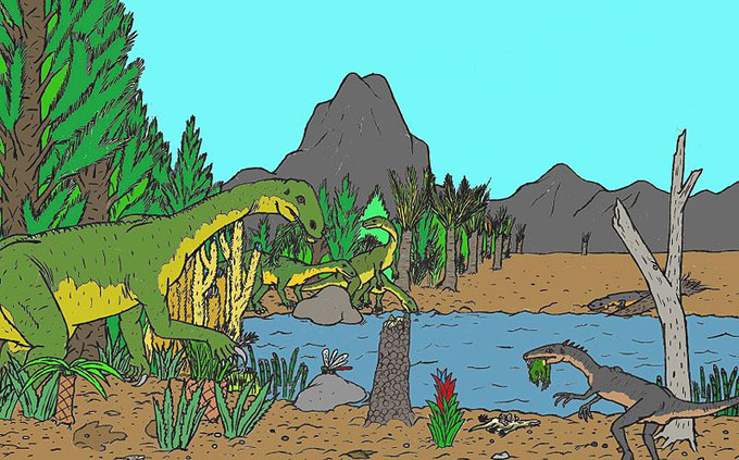 This drawing shows what life might have looked like for dinosaurs during the late Triassic Period. The late Triassic Period stretched from 228 million years ago until 200 million years ago. Many of the first dinosaurs, such as the Plateosaurus, evolved during this time period.