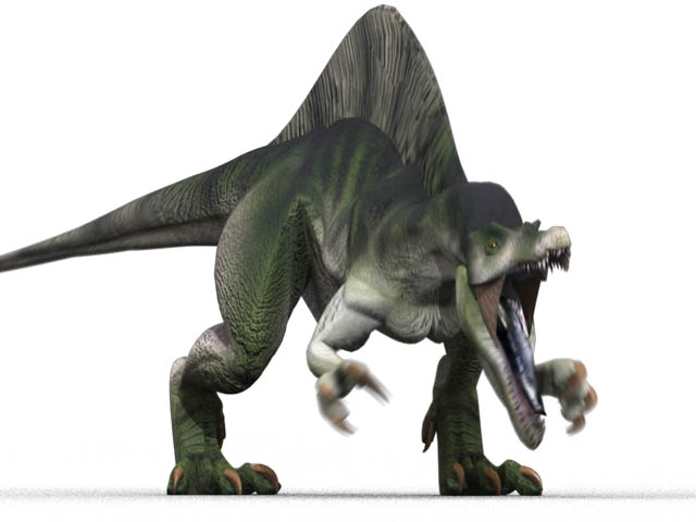 This CGI drawing shows the possible appearance of Spinosaurus, a dinosaur from the Cretaceous Period (around 100 million years ago). With huge spines growing from its back and the biggest size of any meat eating (carnivorous) dinosaur, the Spinosaurus must have been one scary looking dinosaur.