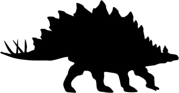 This picture shows the silhouette of a Stegosaurus, a large, bulky dinosaur from the late Jurassic Period.