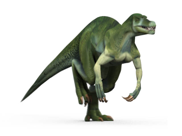 This CGI drawing shows the possible appearance of Suchomimus, a large Theropod dinosaur from the early Cretaceous Period (around 112 million years ago). Suchomimus had a large mouth like that of a crocodile that featured around 100 teeth. Scientists believe that Suchomimus may have grown to around 12 metres (40 feet) in length.