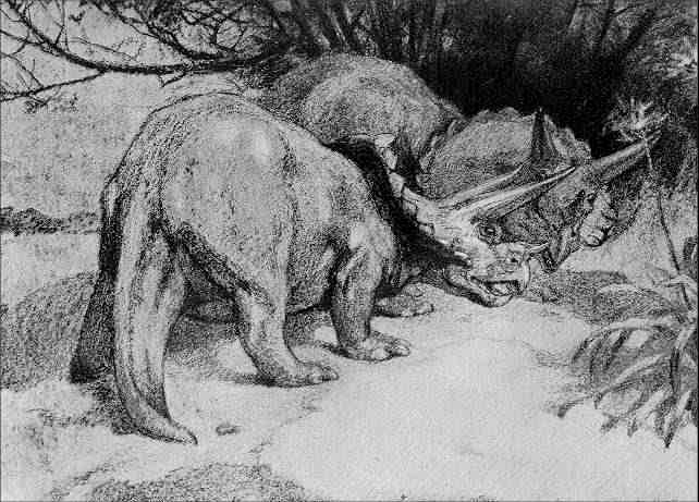 This picture shows a grainy image of two Triceratops dinosaurs fighting by thrusting their horns toward each other.
