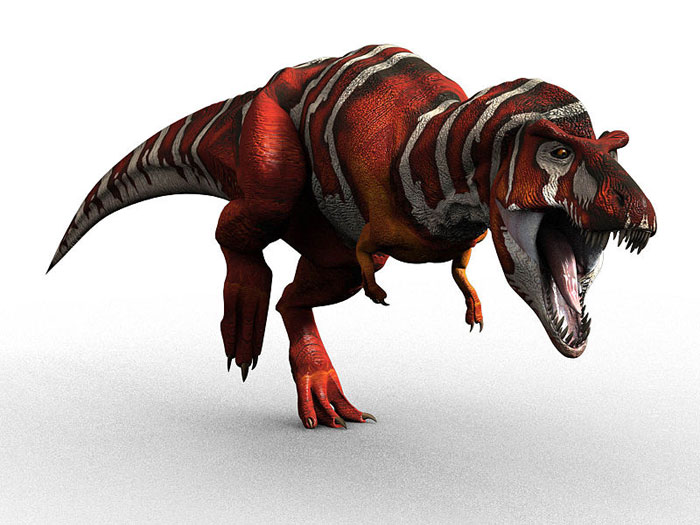 This CGI picture shows a Tyrannosaurus rex charging from left to right while showing off its razor sharp teeth.