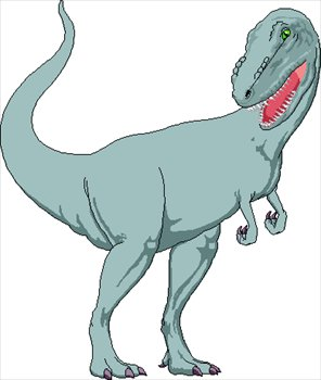 This clip art picture is of a Tyrannosaurus rex. The T-Rex was a large, carnivorous (meat eating) dinosaur from the late Cretaceous Period (around 66 million years ago).