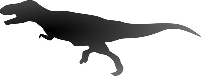 This picture shows the silhouette of a Tyrannosaurus rex, a large carnivorous (meat eating) dinosaur. From this side on perspective it is easy to see its large tail, large legs, and small arms.