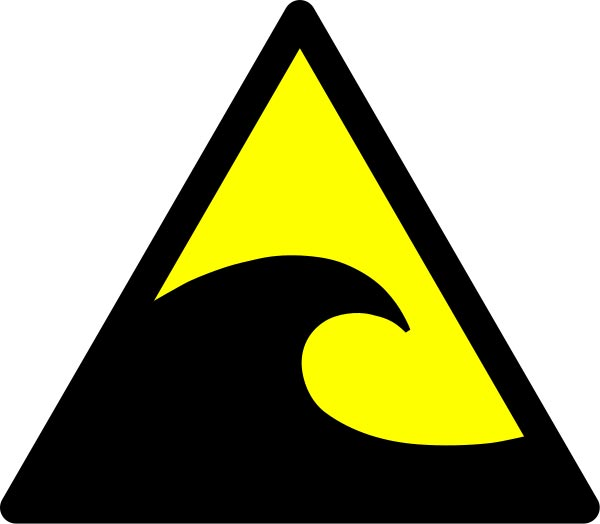 This picture shows a tsunami warning sign that can be found near coastal areas that are susceptible to dangerous tsunamis.