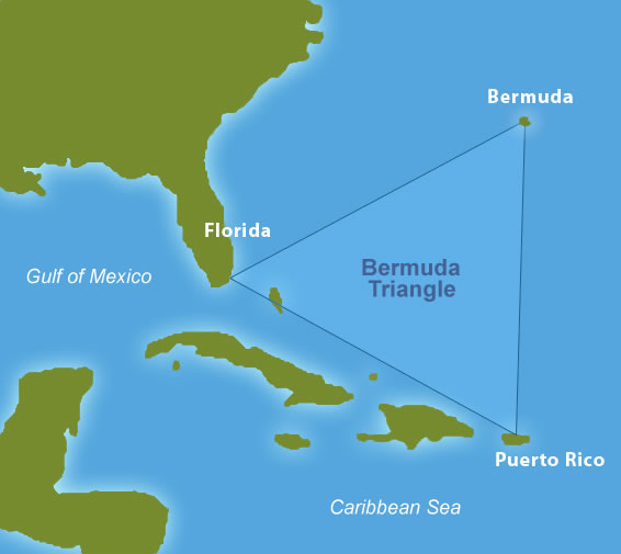 This image is a Bermuda Triangle map, locating the area where many mysterious incidents have reportedly occurred. It is found between Bermuda, Florida and Puerto Rico. For more information, check out our Bermuda Triangle mysteries, theories and facts.