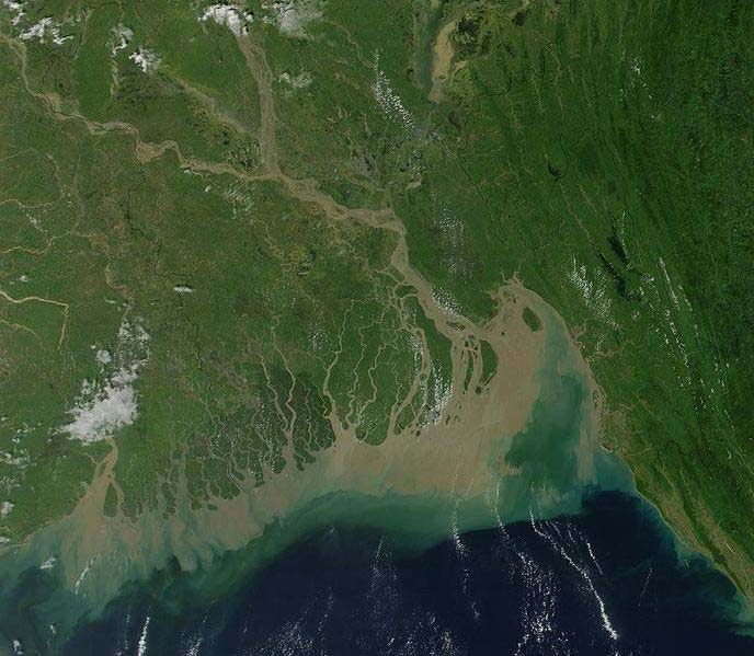 This NASA satellite image shows the Ganges River Delta. The Ganges River flows through India and Bangladesh.