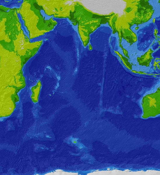 This is a satellite image of the Indian Ocean, the third largest ocean in the world.