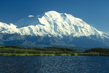 This is a photo of Mt McKinley. Found in Alaska, it is the tallest mountain in the USA and North America, standing at a height of 6194 metres (20320 feet) above sea level.