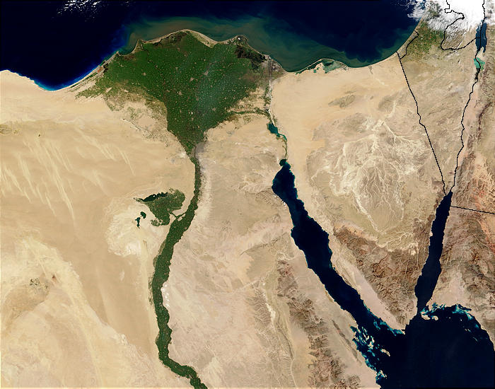 This is an amazing satellite image of the Nile River Delta as seen from orbit. Located in North East Africa, the Nile River is largely agreed to be the longest river in the world, reaching 6650 kilometres (4132 miles) in length.