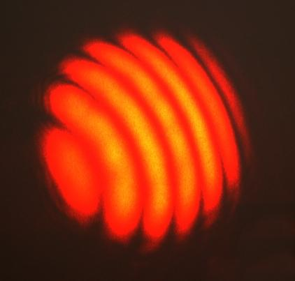 This photo shows an interesting image of an interference laser.