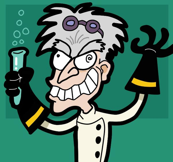 This picture features a mad scientist holding a bubbling test tube while grinning manically.