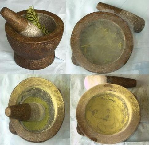 A photo featuring four separate pictures of a mortar & pestle. Each stage of the process to grind down an object is shown. The object is whole at first but by the fourth picture it has been ground down to dust.