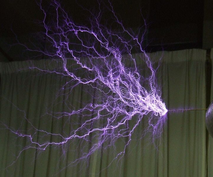An impressive photo showing a high voltage discharge during a Tesla coil demonstration.