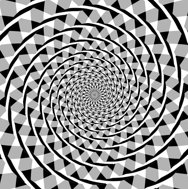 This image is known as a Fraser spiral illusion, or false spiral. The black arcs appear to form a spiral when in fact they are a series of concentric circles.