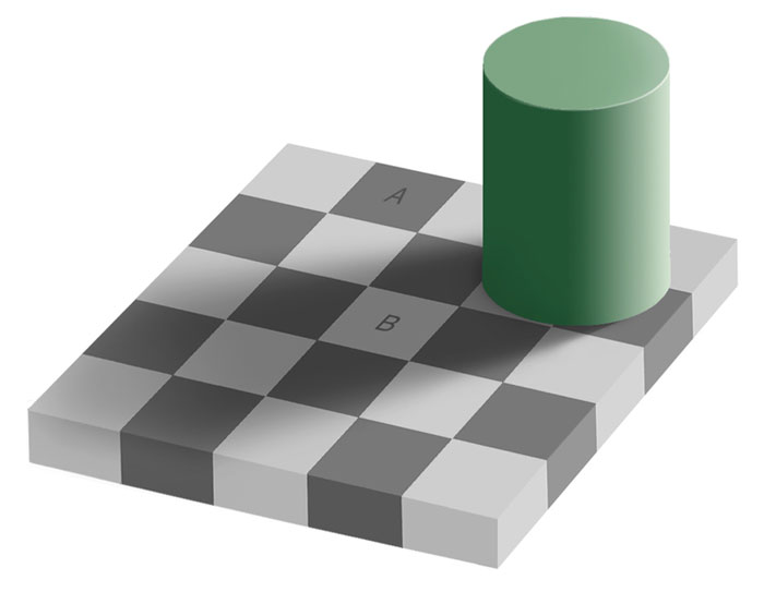 This grey square optical illusion is known as a same color illusion. While they look like different shades of grey, squares A and B are actually the same shade. It's hard to believe but it can be proved by sampling the colors in an image editing program such as Photoshop.