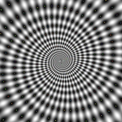 This hypnosis illusion makes the person looking at it feel disoriented, as if they are traveling down a moving spiral to the center of the image. The hypnotic optical illusion appears to be moving when in fact it is staying still. It's the kind of image that brings thoughts of a hypnotist making their patient sleepy to mind.