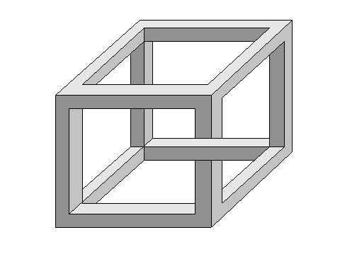 This picture features an impossible cube, based on the Necker Cube, named after Louis Albert Necker who first devised it back in 1832. The shape appears to defy the laws of geometry