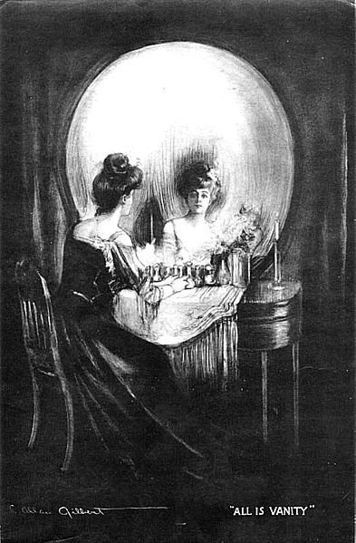 This black and white image is a very famous example of an optical illusion. Designed and drawn by C. Allan Gilbert, the name of the image is 'All is Vanity'. It represents both life and death where the meaning of existence is intertwined.