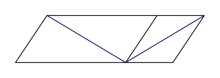 This optical illusion is known as the Sander illusion, or Sander parallelogram. While one of the blue lines appears to be longer than the other, they are in fact both exactly the same length.
