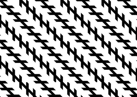 The Zollner illusion is named after German astrophysicist Johann Karl Friedrich Zollner. Although the black lines appear to not be parallel, in reality they are.