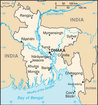 Bangladesh Map with Cities - Free Pictures of Country Maps