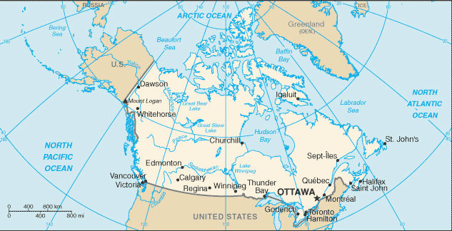 Canada Map with Cities - Free Pictures of Country Maps