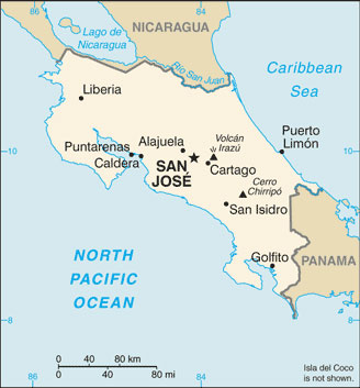 costa rica map with cities free pictures of country maps
