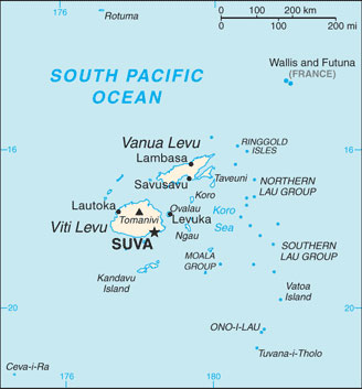 Fiji Map with Cities - Free Pictures of Country Maps