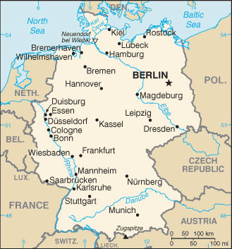 Germany Map with Cities   Free Pictures of Country Maps