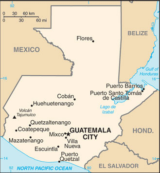Guatemala Map with Cities - Free Pictures of Country Maps