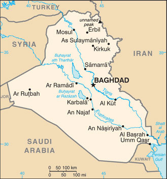 Iraq Map with Cities - Free Pictures of Country Maps