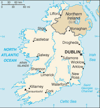 Ireland Map With Cities Ireland Map with Cities   Free Pictures of Country Maps