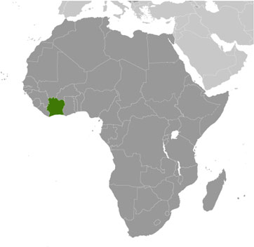 Ivory Coast (Côte d\'Ivoire) Map with Cities - Free Pictures of ...