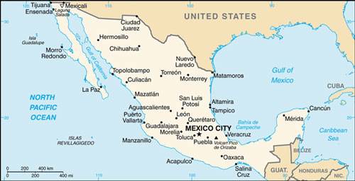 Mexico Map With Cities Free Pictures Of Country Maps - A map of mexico