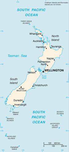 New Zealand Map with Cities - Free Pictures of Country Maps