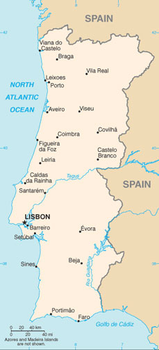 Portugal Map With Cities Free Pictures Of Country Maps - Major cities map of portugal